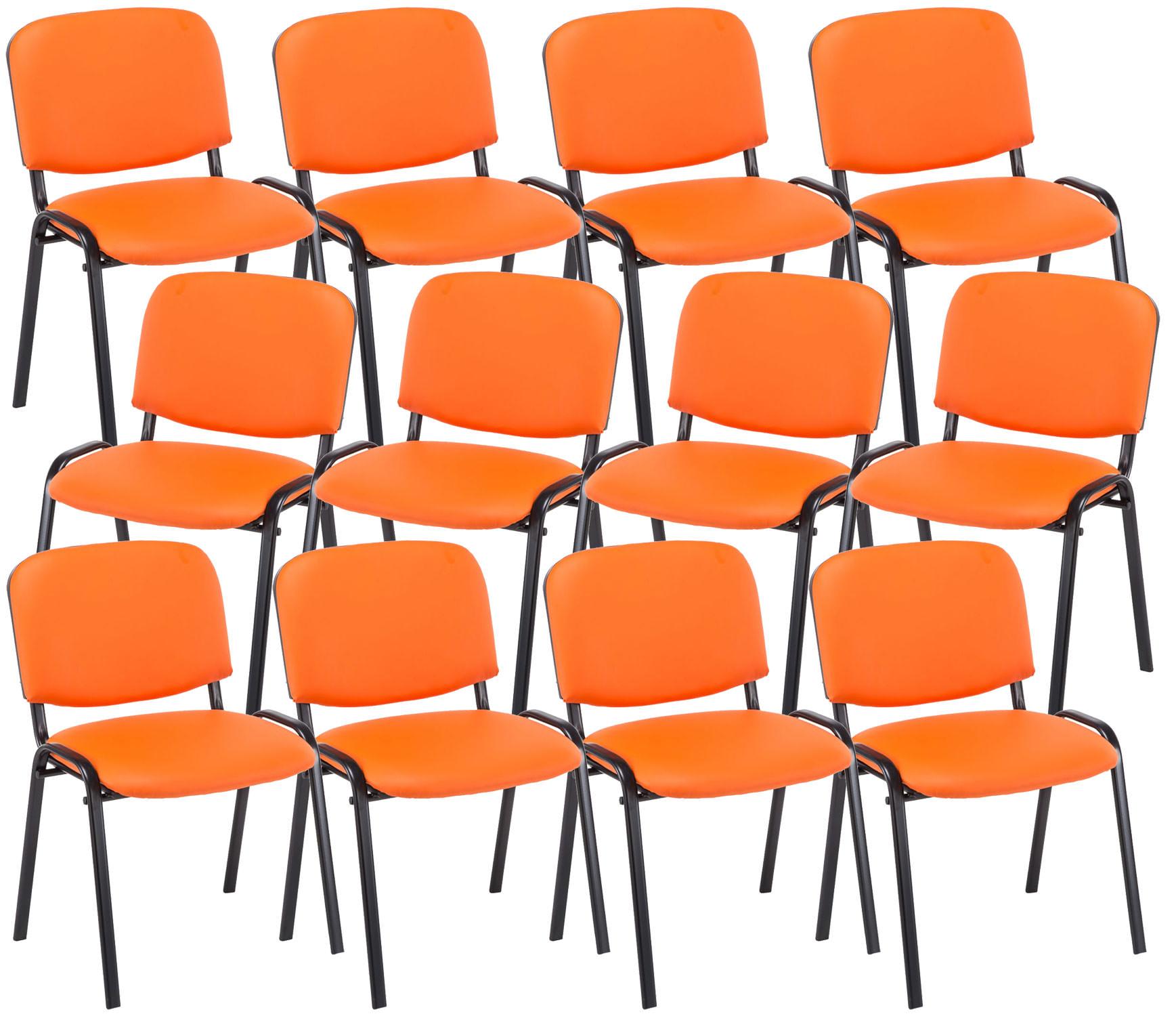 12er Set Besucherstuhl Ken Kunstleder orange