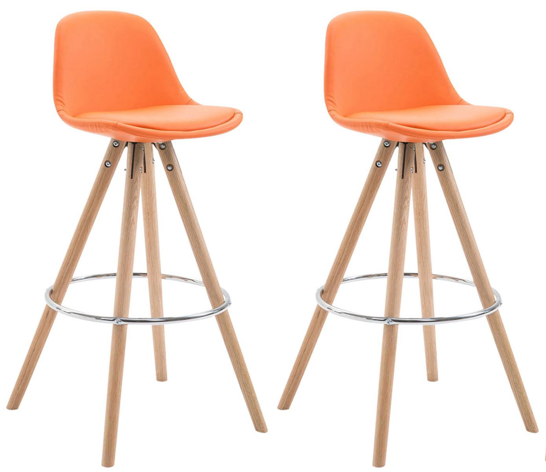 2er Set Barhocker Franklin vollgepolstert Kunstleder rund  natura orange günstig online kaufen