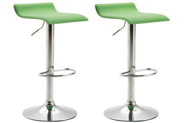 2er Set Barhocker Dyn V2 Kunstleder chrom grün