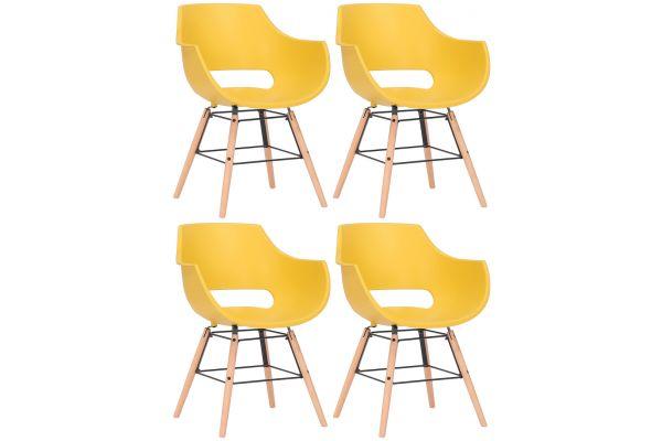 4er Set Stühle Skien Kunststoff natura gelb