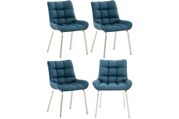 4er Set Stuhl Saranda Stoff edelstahl blau