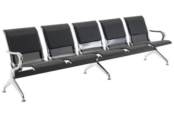 5er Wartebank Airport Kunstleder schwarz/schwarz