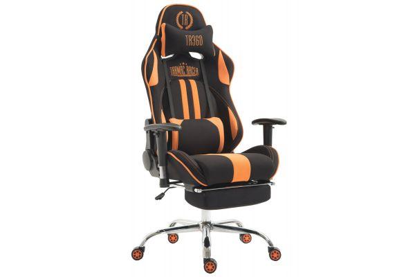 Racing Bürostuhl Limit Stoff mit Fußablage schwarz/orange