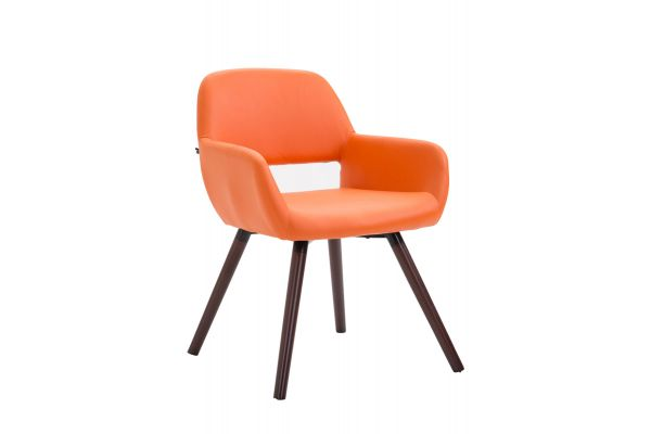 Stuhl Bobby Kunstleder Walnuss orange